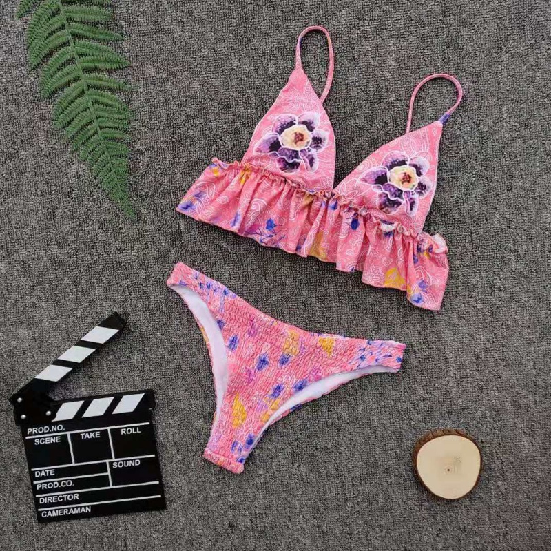 Custom Made Pink Floral Print Two Pieces Bikini Ripple Fringes Sexy Swimsuit