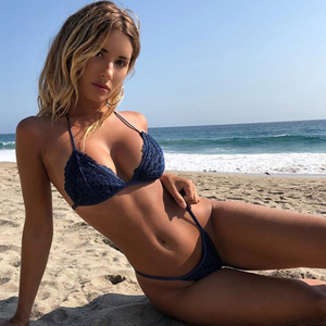 Custom Made Lace Stitching Navy Two Pieces Bikini Triangle Sexy Swimsuit