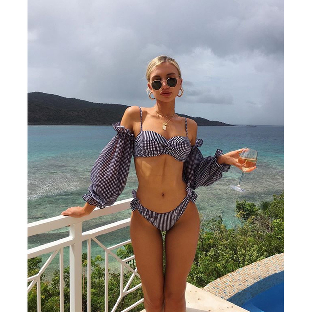 Custom made Two Piece Suits with Sleeves 2020 Girl Bikini Sexy
