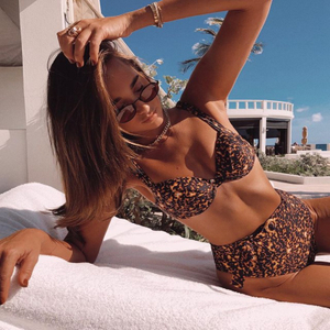 Wholesale Leopard Print Two Pieces Bikini Bikini 2020 Swimsuit