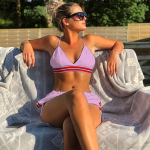 Custom Made Two Pieces Bikini High Waisted Triangle Top Yoga Sport Bikini