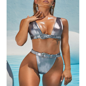 Wholesale Two Pieces Swimsuit Silver Metalic Sexy Bikini