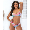 Custom Made Floral Print Two Pieces Bikini Large Size Sexy Swimsuit