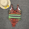 Wholesale Leopard Print Two Pieces Bikini Trunk bottom Top Sport Bikini 2020