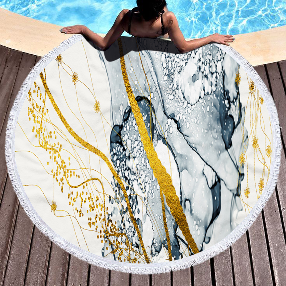 Wholesale Colorful Quickly Dry Round Printed Marble Microfiber Beach Towel in Summer