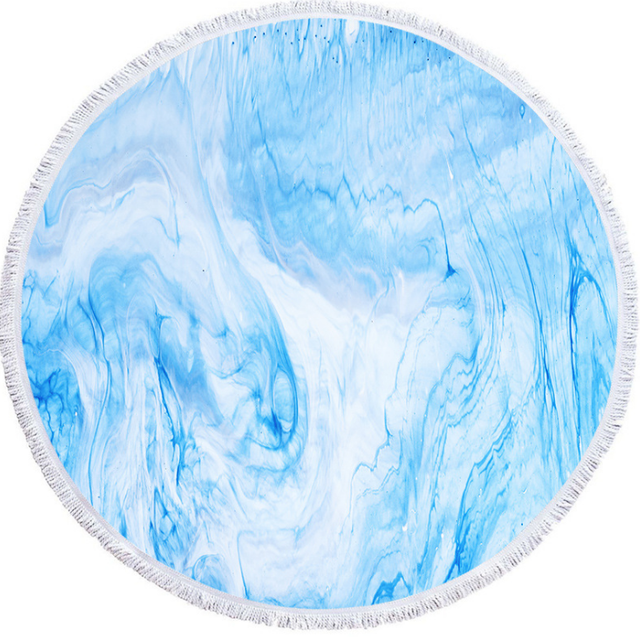 Custom Sky Blue Color Marble Quickly Dry Round Printed Microfiber Beach Towel 2020