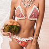 Wholesale Knitted Strap Two Pieces Pink Bikini Cotton Scollop Triangle Bikini
