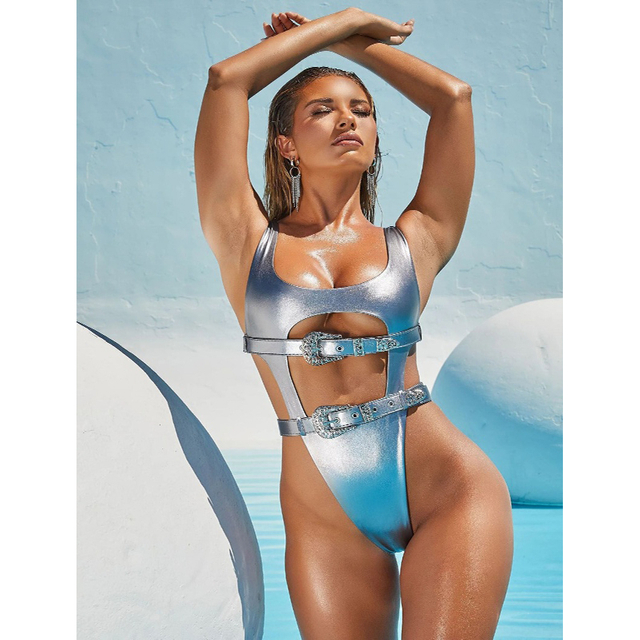 Wholesale One Piece Swimsuit Sliver Metalic Sexy Bikini High Waist Bikini