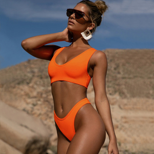 Custom Made Two Pieces Bikini Orange Yoga Suit Sexy Sport Bikini