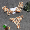 Custom Madel Leopard Printed Two Pieces Bikini Tube Top Sexy Swimsuit