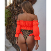 Wholesale Two Pieces Swimsuit Puff Sleeves Neon Print Elastic Tube-top Bikini