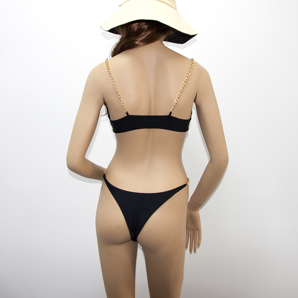 Costom Metallic Triangle Sexy Black Bikinis 2020